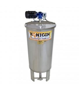 200 literes keverős mézletöltő tartály inox csappal +lábbal - 230V/370W-KÖNIGIN