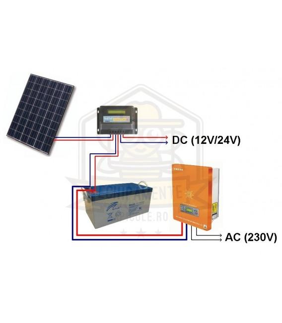 Pachet fotovoltaic -Avansat cu inverter 350W - 2x 100Wp - 2x 12v/100Ah